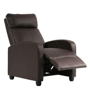 BestMassage Recliner Chair Single Sofa PU Leather Modern Reclining Seat Home Theater Seating for Living Room