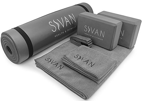 "Sivan Health and Fitness Yoga Set 6-Piece– Includes 1/2"" Ultra Thick NBR Exercise Mat, 2 Yoga Blocks, 1 Yoga Mat Towel, 1 Yoga Hand Towel and a Yoga Strap"