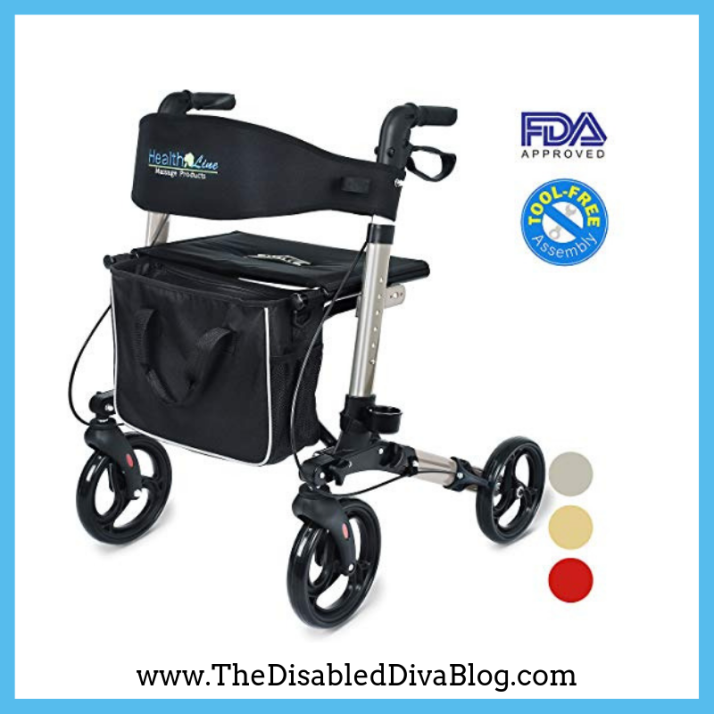 Health Line Compact Rollator for Seniors, Aluminum Side-Fold Rolling Walker with Padded Seat