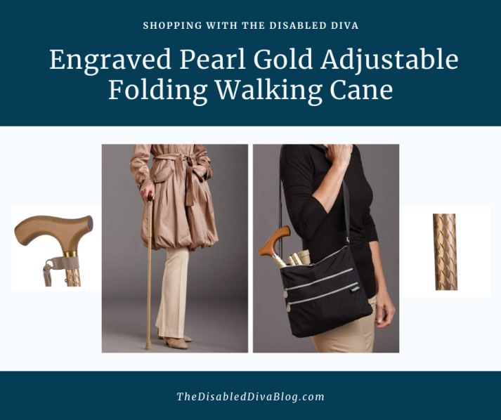 Engraved Pearl Gold Adjustable Folding Walking Cane